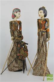 Sale 8490 - Lot 14 - Balinese Puppets on Stand with Another