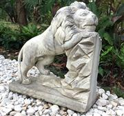 Sale 8772A - Lot 38 - A Carved Marble Stone Lion Statue , Carved From Single Piece Of Stone General Wear , Aged, General Wear, Slight Chipping On Base Siz...