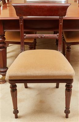 Sale 9097H - Lot 33 - A set of ten bar back mahogany dining chairs with champagne velvet upholstery, Height of back 85cm