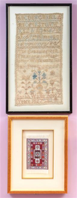 Sale 9120H - Lot 10 - A framed sampler by Sarah Wallis Aged 7, 47cm x 29cm, together with a framed miniature Turkish carpet