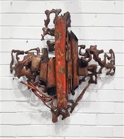 Sale 9121 - Lot 1041 - Vintage copper wall art sculpture (h:73cm)