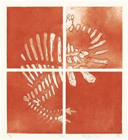 Sale 9212A - Lot 5075 - MABEL JULI Emu, 1996 aquatint, ed. 13/30 38 x 34.5 cm (frame: 68 x 58 x 4 cm) signed lower right