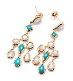 Sale 9246J - Lot 312 - A PAIR OF SILVER GILT TURQUOISE AND MOTHER OF PEARL CHANDELIER EARRINGS; articulated drops collet set with cabochon mother of pearl...