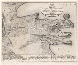 Sale 9252A - Lot 5074 - CHARLES-ALEXANDRE LESUEUR & CHARLES PIERRE BOULLANGER Cartographic Survey of Sydney Colony, 1802 engraving 16.5 x 20.5 cm (frame: 39...