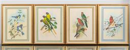 Sale 9256H - Lot 85 - A set of four gilt framed works on silk depicting birds on branches, each frame size 36.5cm x 28.5cm.