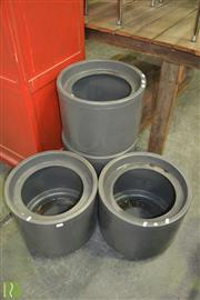 Sale 8390 - Lot 1361 - Set of Four Round Plastic Planters