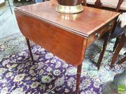 Sale 8428 - Lot 1007 - George III Mahogany Pembroke Table, with satinwood banding, single drawer & turned legs