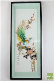 Sale 8490 - Lot 140 - Framed Stone Chinese Peacock Display