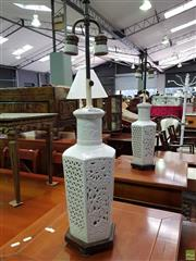 Sale 8570 - Lot 1014 - Pair of Ceramic Pierced Table Lamps
