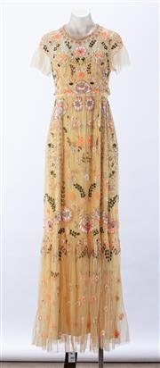 Sale 8910F - Lot 33 - A delicate floral embroidered lace evening dress with empire waist line and silk slip by Needle&Thread, as new with tags, approx size10