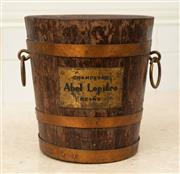 Sale 8902H - Lot 58 - A vintage French oak and brass bound champagne bucket by Abel Lepitre Reims, 22 cm