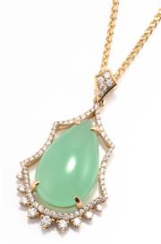 Sale 8937 - Lot 385 - AN 18CT GOLD DIAMOND AND STONE SET PENDANT NECKLACE; featuring a pear shape cabochon chrysoprase of approx. 13ct (21.43 x 13.33mm) s...