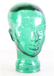 Sale 8980 - Lot 40 - A Green Glass Head (H 31cm)