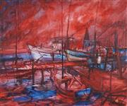 Sale 9067 - Lot 516 - Hugh Sawrey (1919 - 1999) - A Red Dawn 50.5 x 56 cm (frame: 65 x 75 x 4 cm)