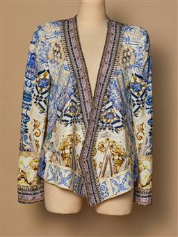 Sale 9093F - Lot 52 - A Camilla silk blue patterned beaded jacket size 2