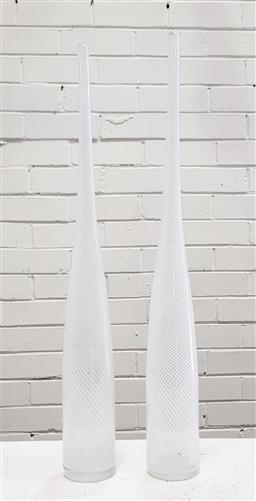 Sale 9117 - Lot 1071 - Graduated pair of oversized Zanfirico optic swirl glass bottle vases (h:60cm)
