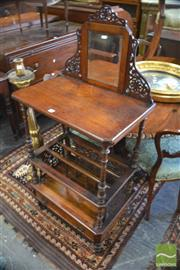 Sale 8335 - Lot 1092 - Victorian Walnut Canterbury / Whatnot with fretwork & mirrored back above turned supports & similar dividers with drawer below