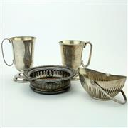 Sale 8390A - Lot 52 - Silver Plated Champagne Coaster with Silver Plated Table Wares incl. Mugs