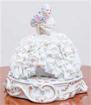 Sale 8430 - Lot 106 - An Italian porcelain crinoline lady holding a large floral bouquet