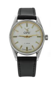 Sale 8406A - Lot 27 - Vintage mens Camy Swiss made wristwatch, 21 jewel,  manual wind, stainless steel case with leather strap, 33 mm, serviced, in worki...