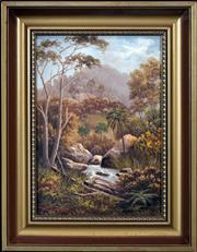 Sale 8427 - Lot 594 - Valentine (Val) Delawarr (active c1880s - 1900) - Australian Bush Scene with River 22 x 32cm