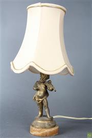 Sale 8603 - Lot 28 - Small Gilt Brass Cherub Lamp
