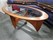 Sale 8723 - Lot 1024 - Oval G Plan Teak Atmos Coffee Table with Glass Top