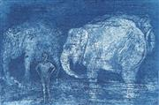 Sale 8771 - Lot 2038 - Brian Dunlop - Elephant Boy etching and aquatint, 26 x 34cm (frame) ed. 13/16cm, signed lower right -