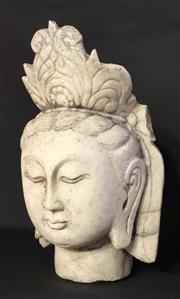 Sale 8772A - Lot 40 - An Antique 19th Century Carved Stone Chinese Guan Yin  Statue, General Wear Some Cracking  /  Previous Repair Size 40cm