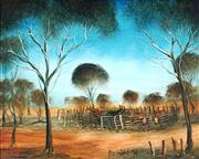 Sale 8870A - Lot 549 - Kevin Charles (Pro) Hart (1928 - 2006) - At the Horseyards, Larloona, 1974 40.5 x 50 cm