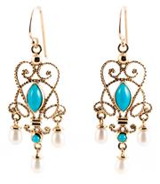 Sale 8899 - Lot 356 - A PAIR OF CANNETILLE STYLE TURQUOISE AND PEARL EARRINGS; 9ct gold wire work drops set with cabochon turquoise and pearls on shepherd...