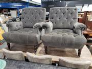 Sale 8988 - Lot 1094 - Pair of Oversized Buttoned Back Fabric Armchairs (h:94 x w:85cm)