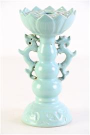 Sale 8994 - Lot 62 - Ru style glazed baluster form candle stand, spur marks to base (H19cm)