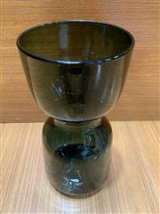 Sale 9022 - Lot 1016 - Vintage Scandinavian Hooped Smokey Sea Green Glass Vase, Probably Bo Borgstrom for Adeda (h:29.5cm)