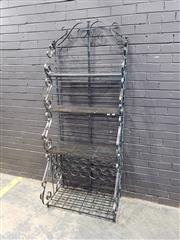 Sale 9034 - Lot 1008 - Wrought Iron Shelving with Wine Rack (h:200 x w:79cm)