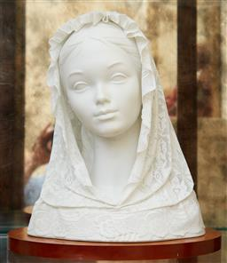 Sale 9097H - Lot 36 - A Lladro porcelain veiled bride on timber stand, Height 37cm (damages to veil)