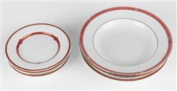 Sale 9255H - Lot 73 - A quantity of Christofle Oceana Rouge & Rubenea Rouge porcelain;
