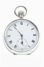Sale 8293 - Lot 323 - A STERLING SILVER OPEN FACE POCKET WATCH; white dial, Roman numerals, subsidiary seconds, stem wind and set, London import mark 1915.