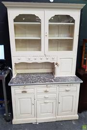 Sale 8589 - Lot 1012 - Unusual Kitchen Pine Dresser with Slides
