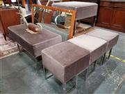 Sale 8688 - Lot 1019 - Set of Three Grey Upholstered Top Ottomans on Chrome Base Together with Two Larger Examples (5)