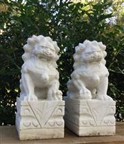 Sale 8772A - Lot 41 - A Pair Of Carved Stone Lion  /  Foo Dog Statues Carved From One Piece Of Stone General Wear, Some Chipping On Base Size: 38cm H x 20...