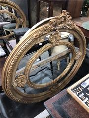 Sale 8822 - Lot 1847 - Ornate Oval Gilt Framed Mirror - 216 (H: 115 W: 125cm)