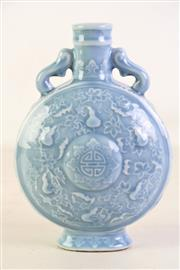 Sale 8926A - Lot 666 - Pastel blue moon flask decorated with bats, mark to base, H21cm