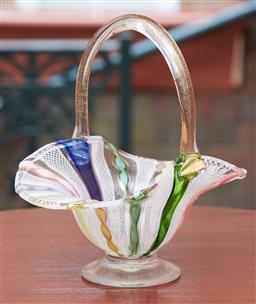 Sale 9103M - Lot 415 - An aventurine and latticino inserted art glass basket, Height 20cm
