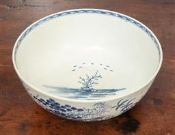 Sale 9120H - Lot 13 - An early English blue and white porcelain bowl featuring maritime themes, mark to base, possibly Caughley, Diameter 23cm