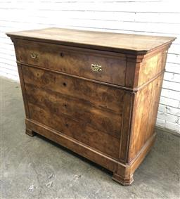 Sale 9142 - Lot 1077 - Louis Philippe Walnut Secretaire Chest, with burr veneer facade, the secretaire drawer with turned gallery, elm veneered drawers & b...