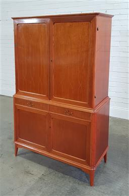 Sale 9196 - Lot 1002 - Mid Century Swedish Veneered Cabinet, the upper doors with twist line inlay & enclosing shelves, above two slim drawers & two furthe...