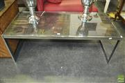 Sale 8310 - Lot 1090 - An Interesting Stainless Steel Framed Coffee Table, the Top made from Early Timber Printers Blocks.