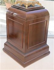Sale 8341A - Lot 89 - A mahogany pedestal with stepped top, H 80 x W 55 x D 55cm
