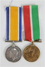 Sale 8384A - Lot 59 - WWI Merchant Marine Pair of Medals for Joseph Lyon